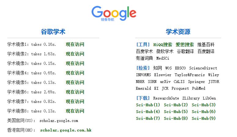 最新谷歌学术(Google Schloar)镜像地址